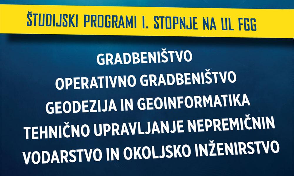 Študijski programi 1. stopnje na UL FGG