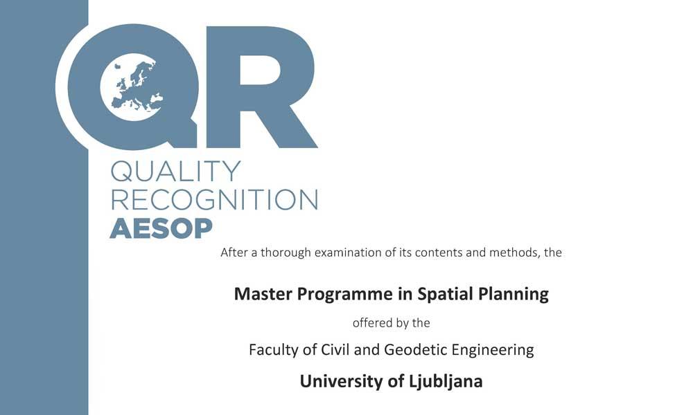Magistrski program Prostorskega načrtovanja nagrajen s certifikatom za izjemnost