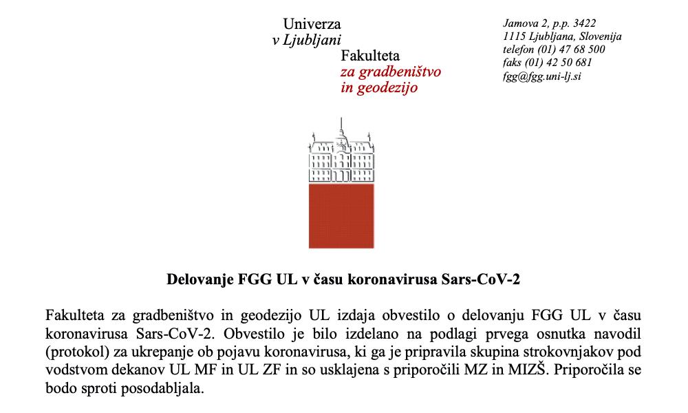 Delovanje FGG UL v času koronavirusa Sars-CoV-2