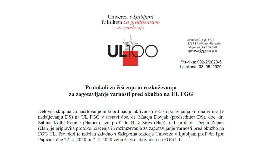 Protokoli za zagotavljanje varnosti pred okužbo na UL FGG