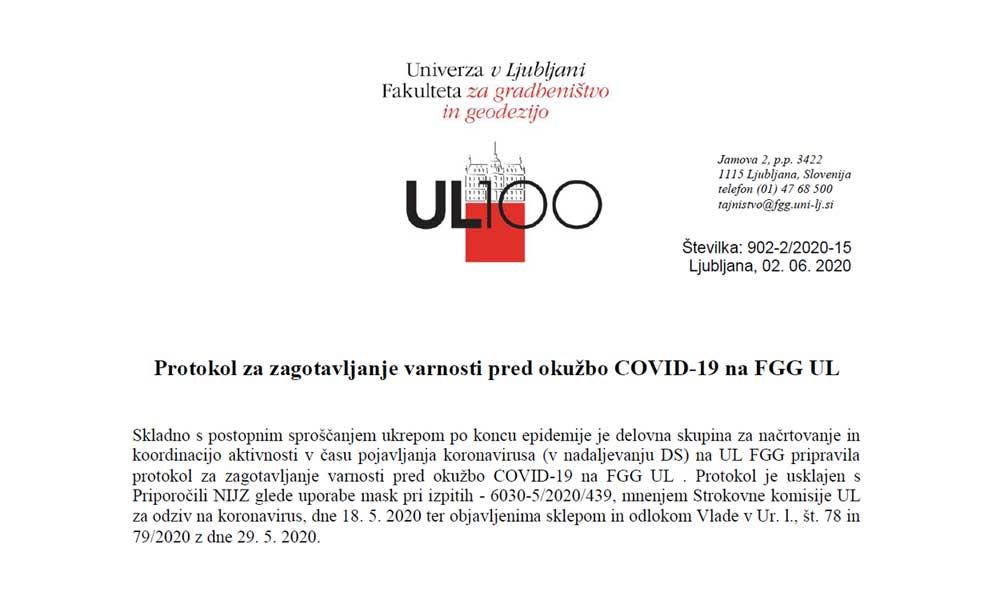 Protokol za zagotavljanje varnosti pred okužbo COVID-19 na FGG UL